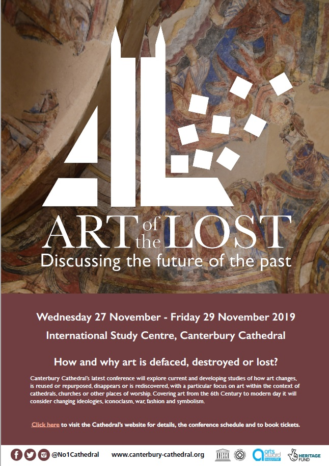 Art of the Lost. Poster advertising a conference at Canterbury Cathedral, 27-29 November 2019.